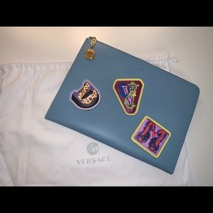 Authentic Versace leather patches runway clutch